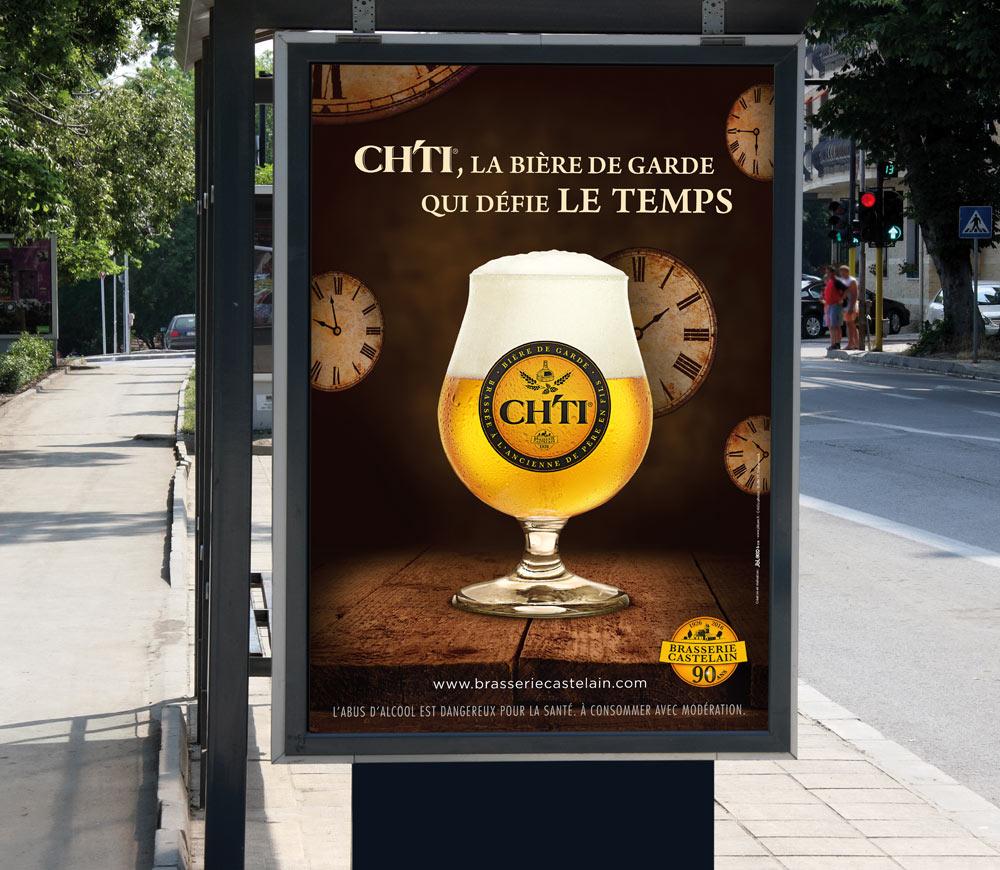 Brasserie Castelain - Ch'ti - Affiche abri bus